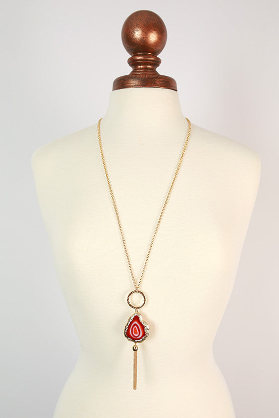 Cheers in Tuscany Tassel Necklace in Rusty Red