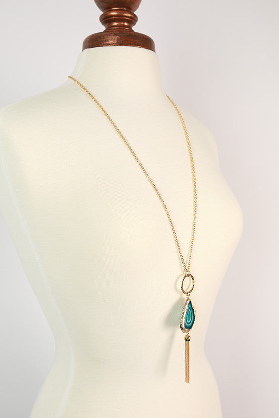 Cheers in Tuscany Tassel Necklace in Teal