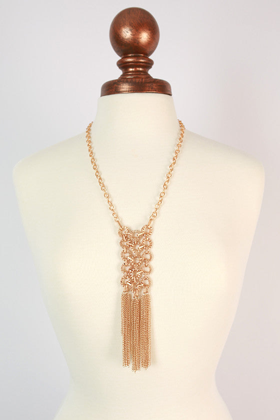 Fluent in French Fringe Necklace