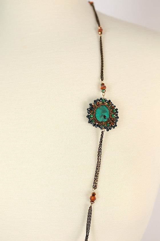 Happy To Be Glam Necklace in Turquoise