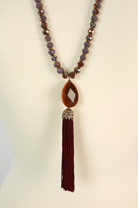 Made For Manhattan Tassel Necklace in Maroon