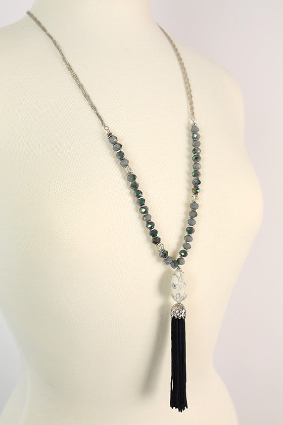 Made For Manhattan Tassel Necklace in Navy