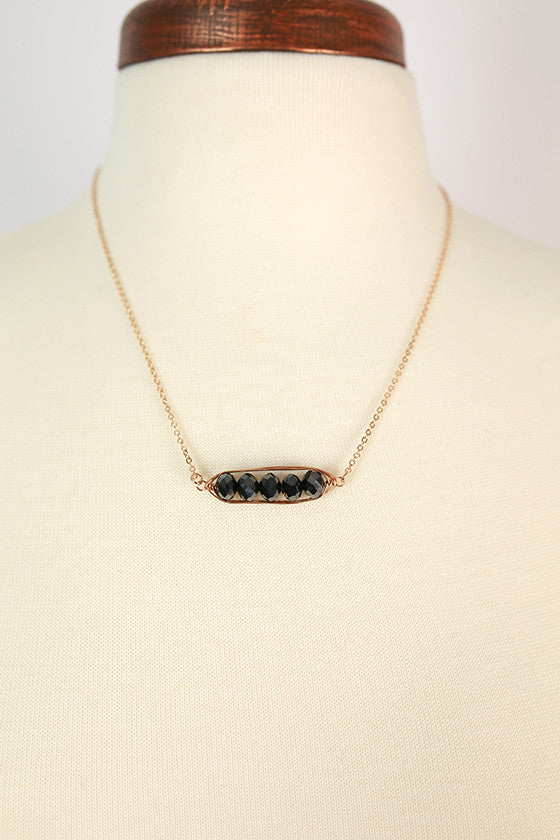 Florence Wire Wrapped Crystal Necklace in Black