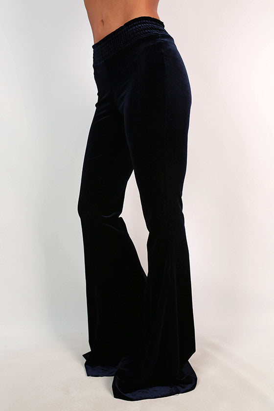Fit to Flare Velvet Pants in Navy