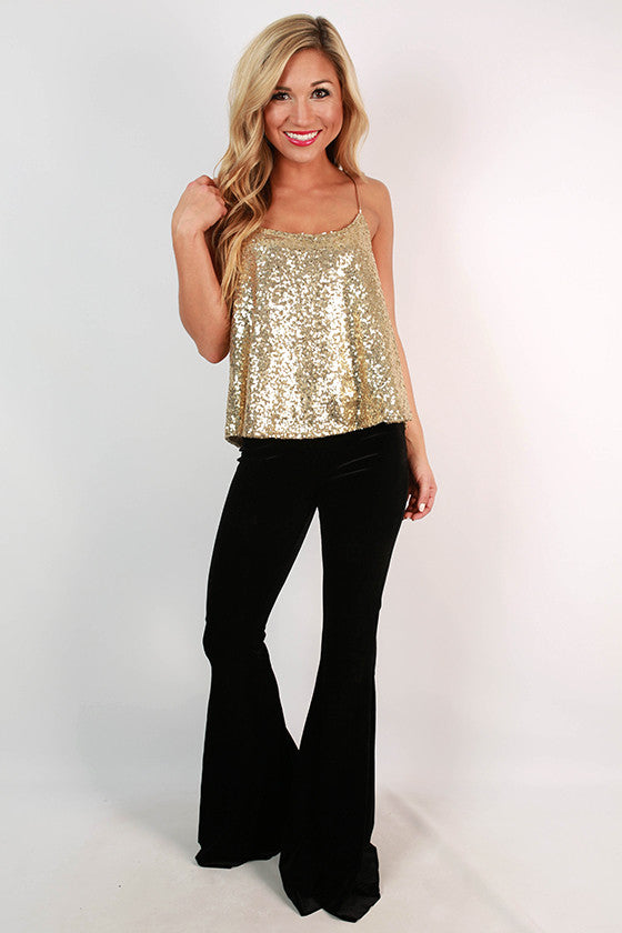 Fit to Flare Velvet Pants in Black