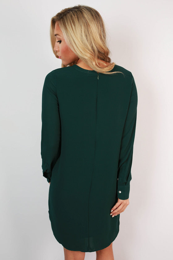 Weekend in Vermont Shift Dress in Hunter Green