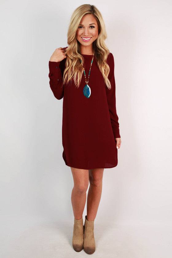 Weekend in Vermont Shift Dress in Cabernet