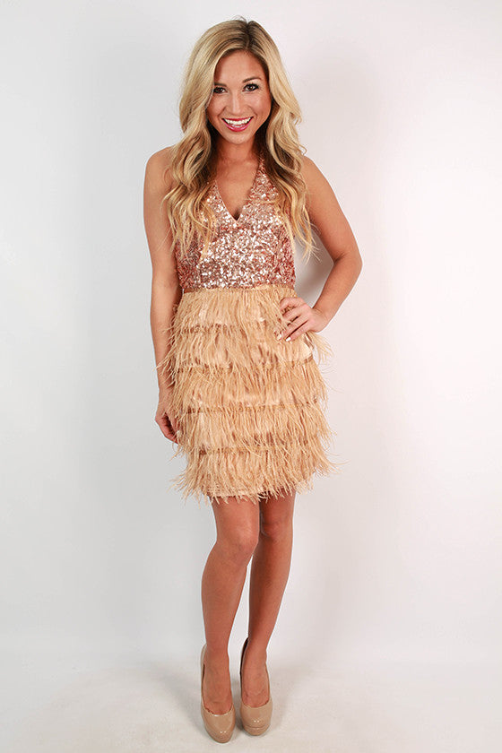 Watch Me Shimmer Sequin Dress in Rose Gold