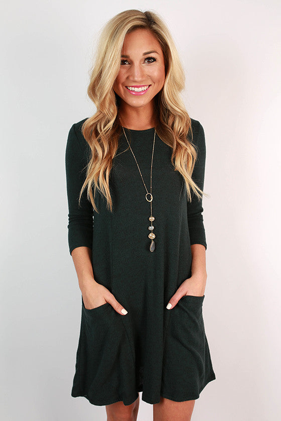 Pocket To Me Shift Dress in Dark Teal