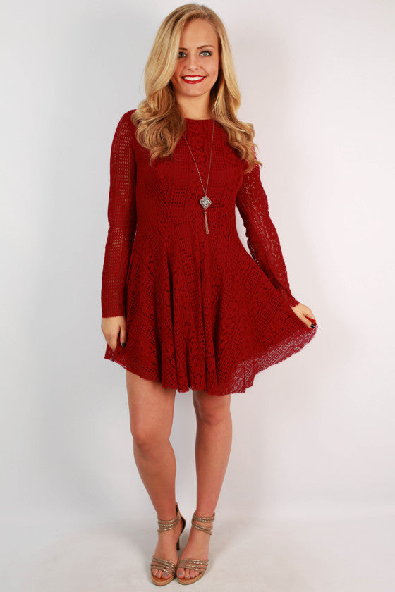 Party At The Plaza Lace Dress in Red
