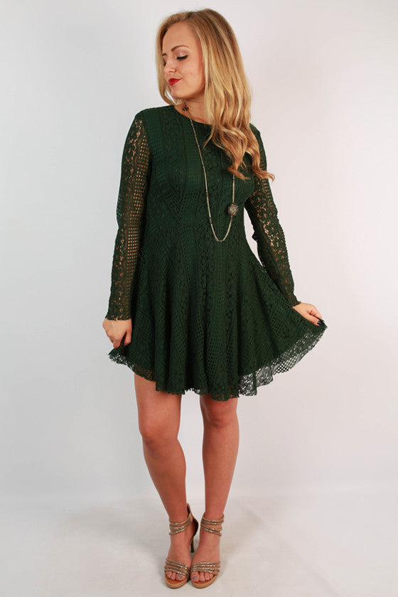 Party At The Plaza Lace Dress in Olive