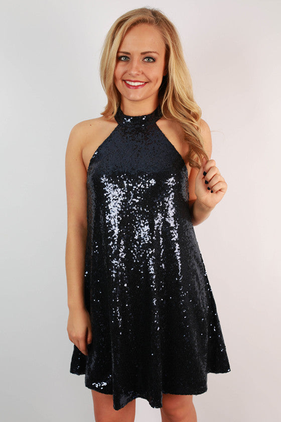 City Lights Shift Dress in Navy
