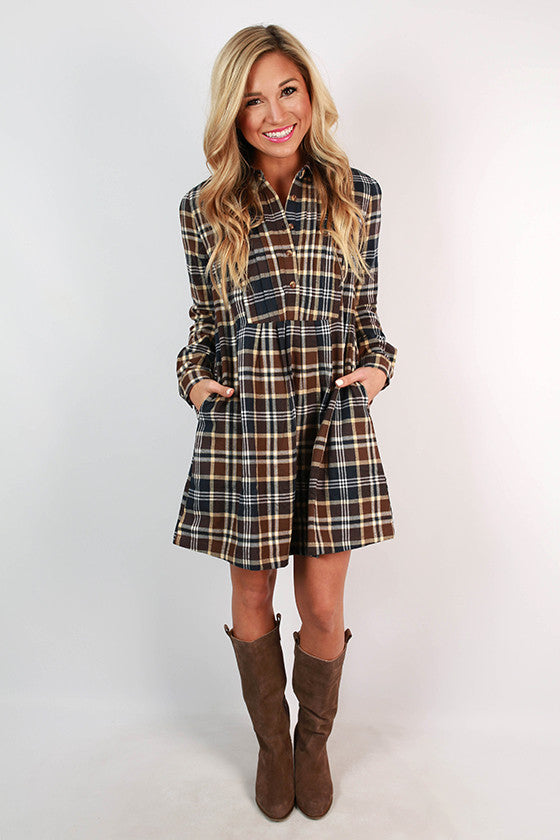 Pumpkin Patch Plaid Babydoll Dress in Brown