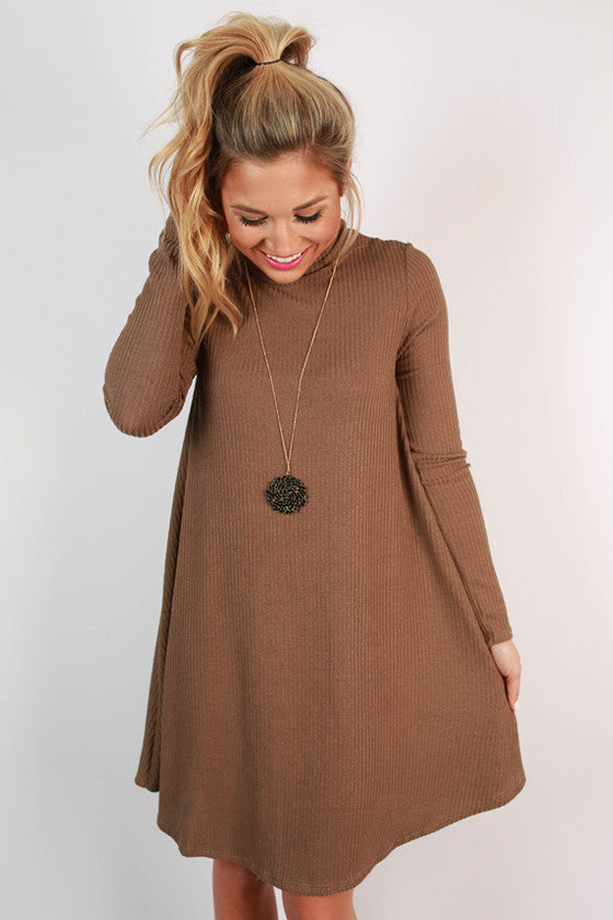Modern Day Romance Shift Dress in Mocha