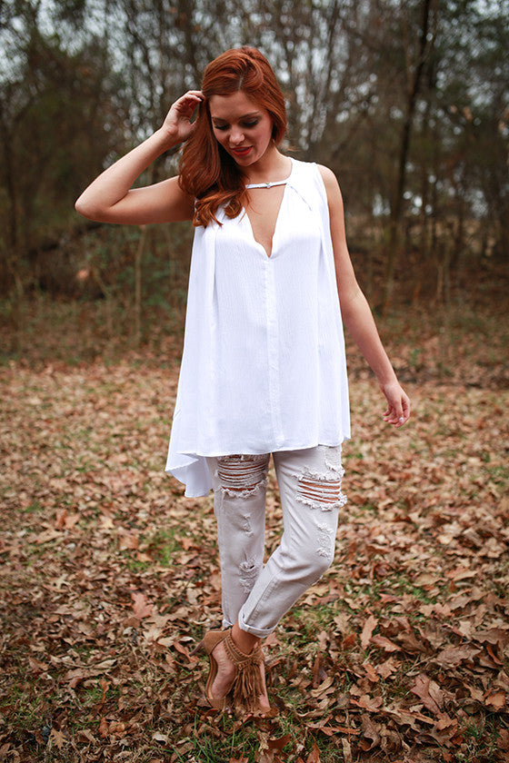 Vino Night Tunic in White