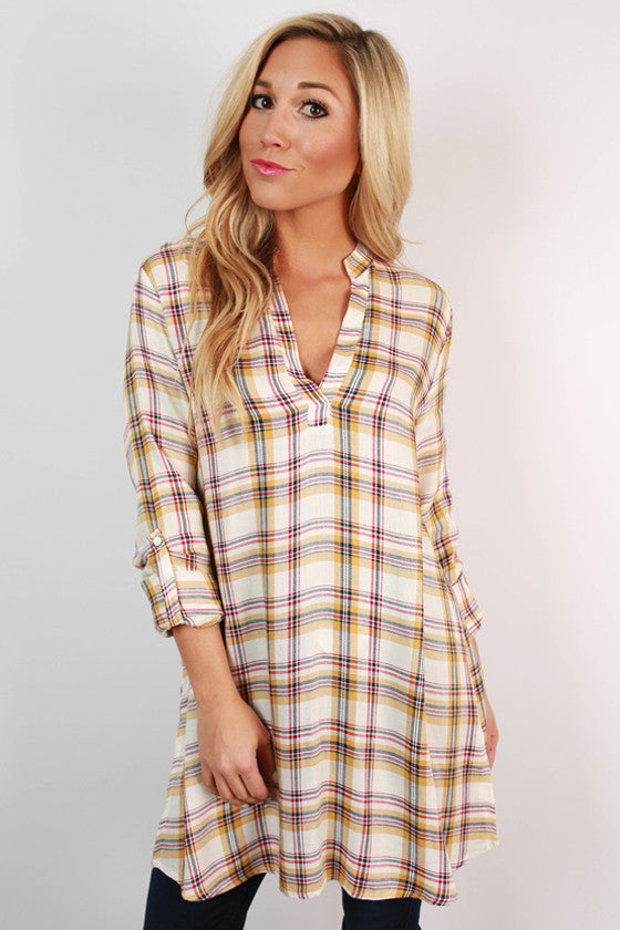 Cocoa in The Cabin Plaid Tunic