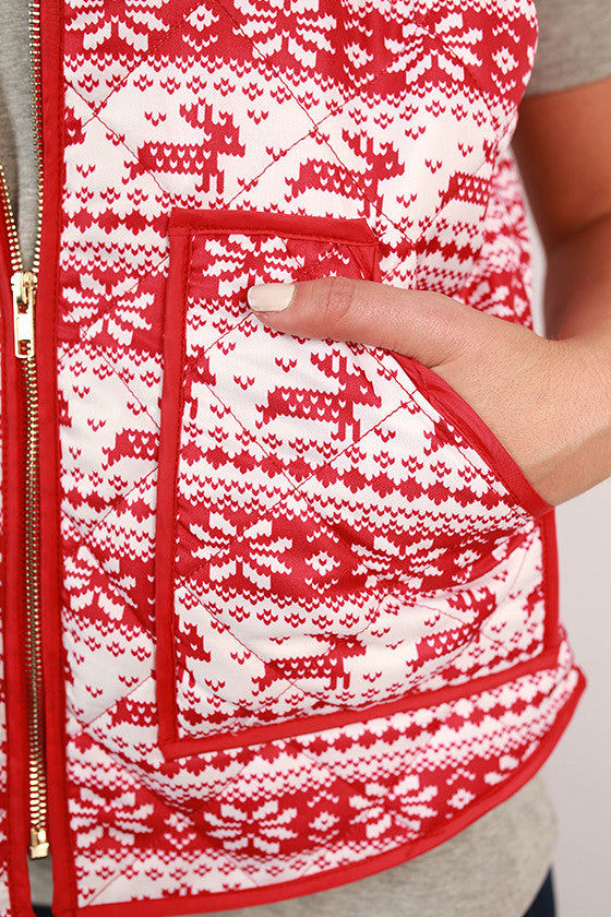 Fireside Friendships Printed Vest in Red