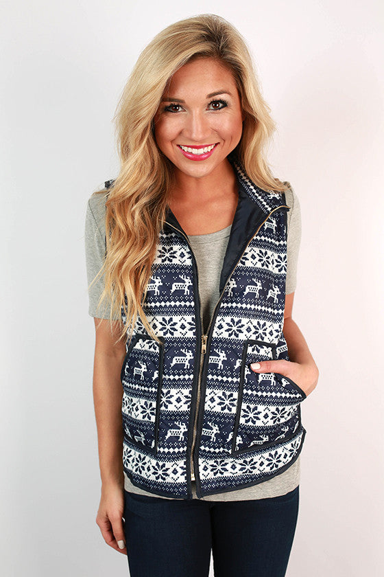 Fireside Friendships Printed Vest in Navy