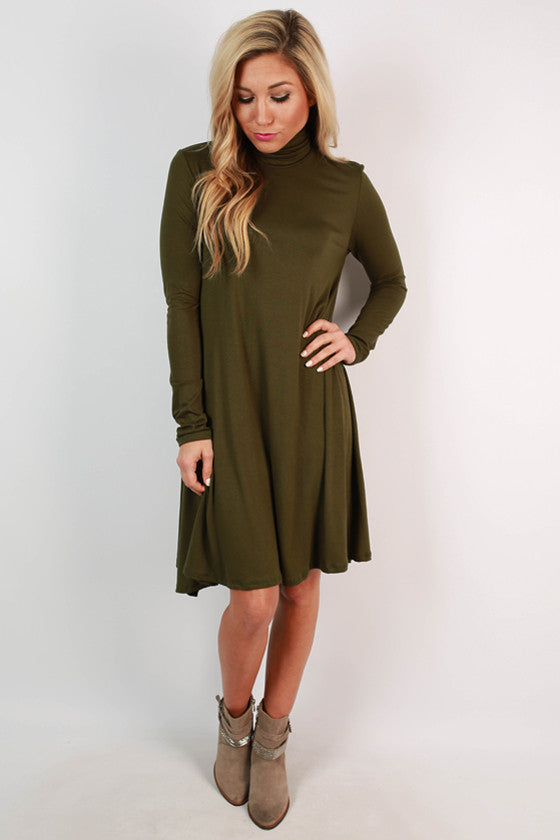 Dinner & Dancing Shift Dress in Olive