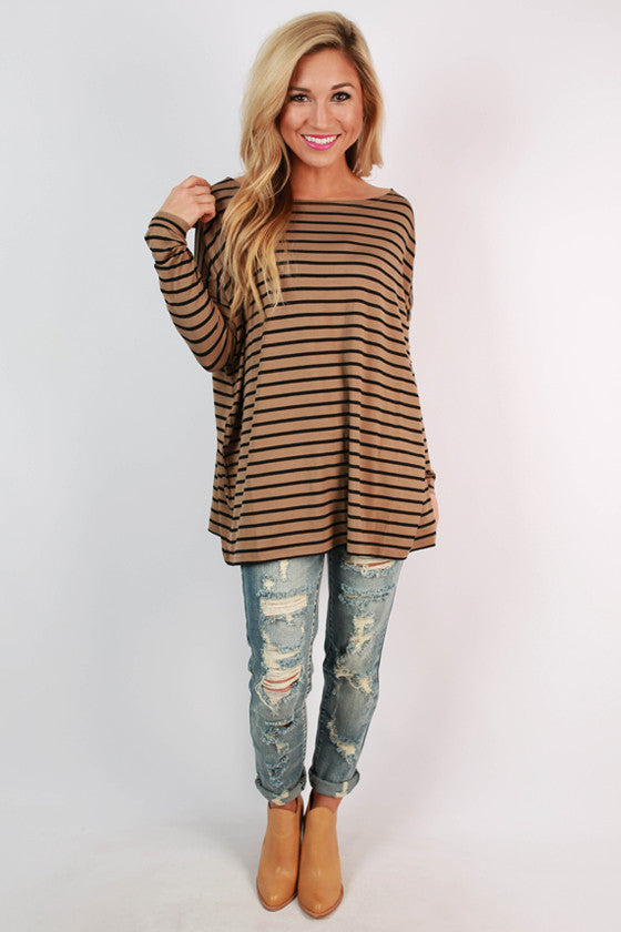 Piko Long Sleeve Stripe Tee in Mocha