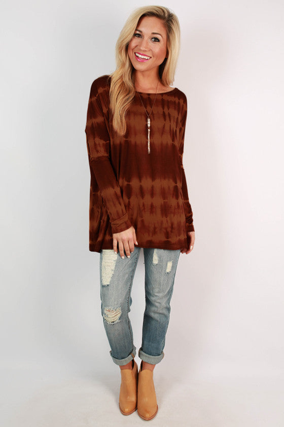 Piko Long Sleeve Tie Dye Tee in Rust