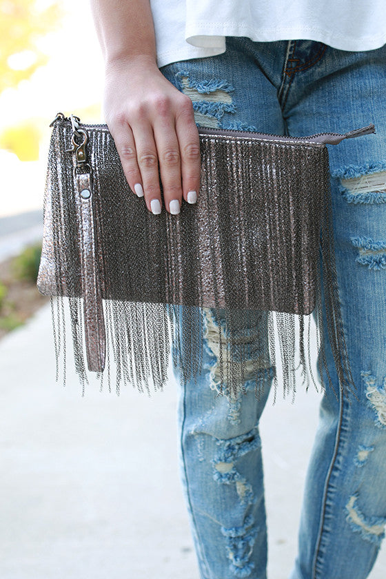 Feelin' Fine Fringe Clutch in Pewter