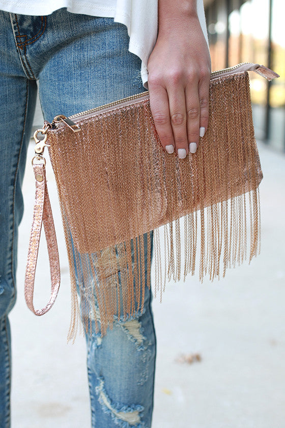 Feelin' Fine Fringe Clutch in Rose Gold