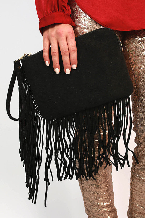 Soho Strolling Suede Clutch in Black