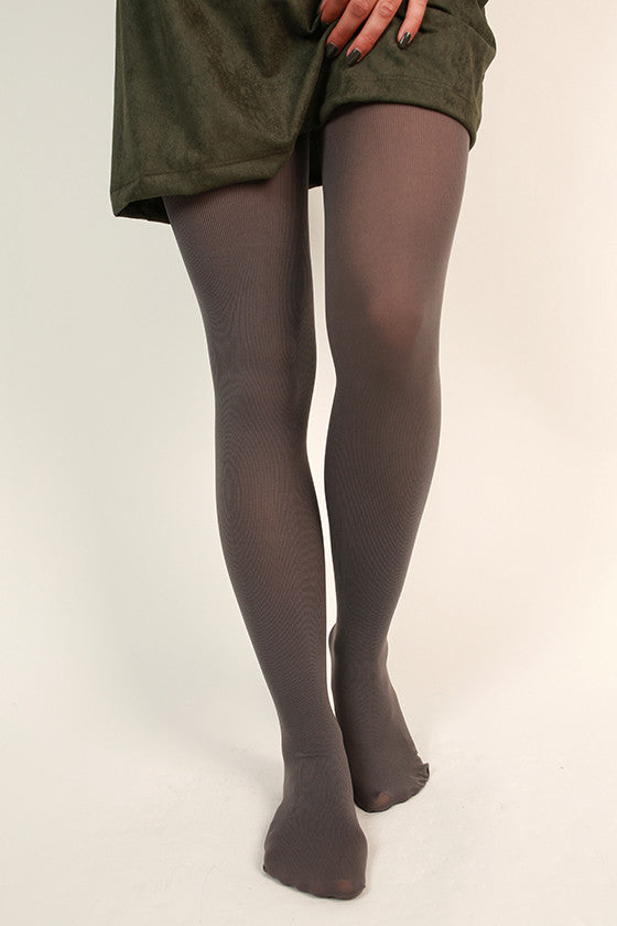 Essential Opaque Ribbed Tights in Dark Grey