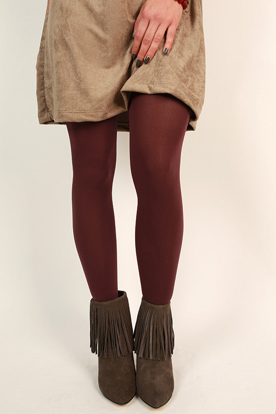 Essential Opaque Tights in Maroon