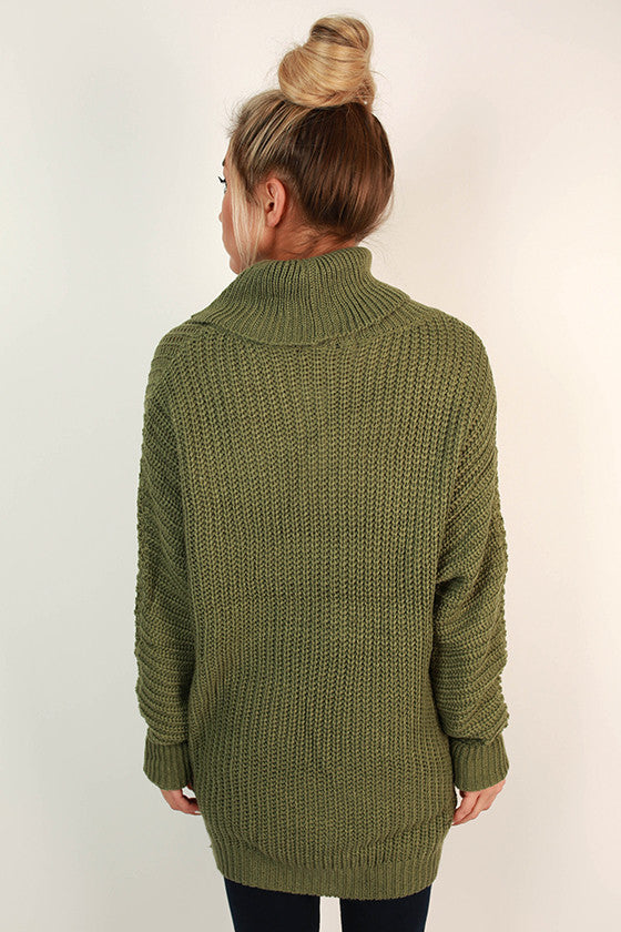 Cozy For The Weekend Tunic Sweater in Olive