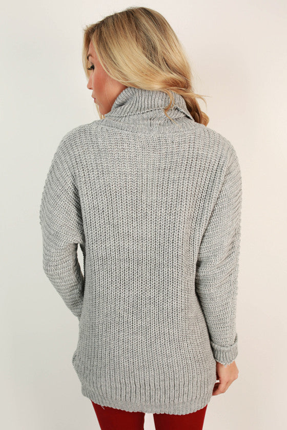 Cozy For The Weekend Tunic Sweater in Grey