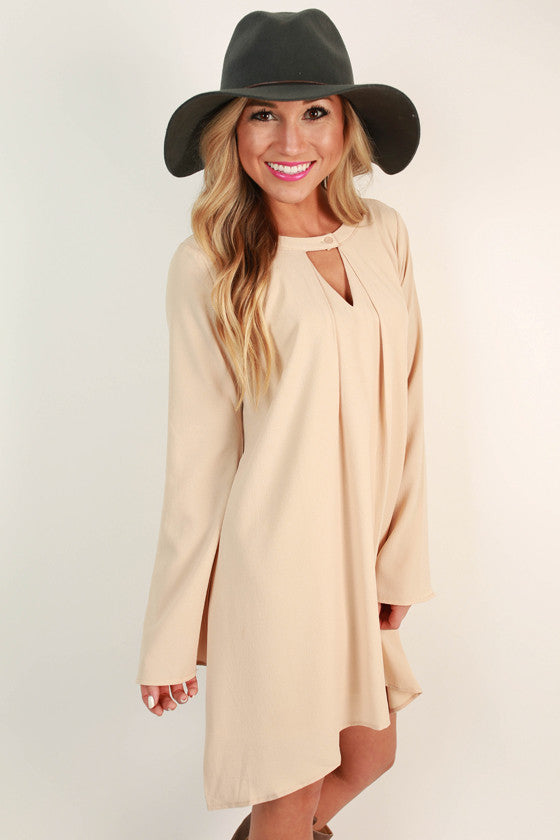 Cappuccino Cuddles Shift Dress in Beige