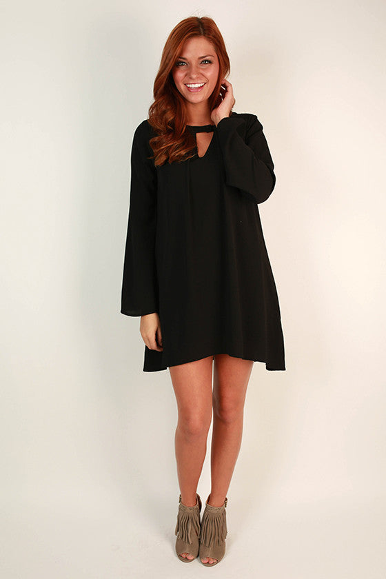 Cappuccino Cuddles Shift Dress in Black