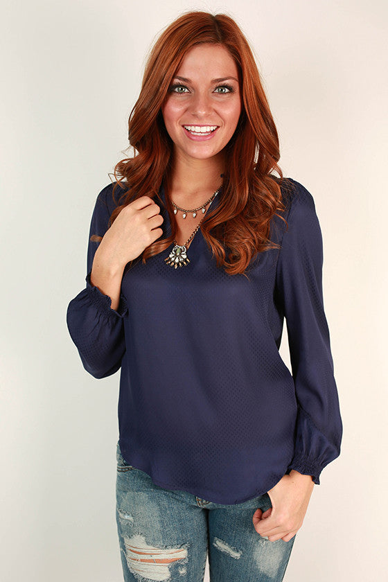 Cocktails in Paris Top in Dark Blue