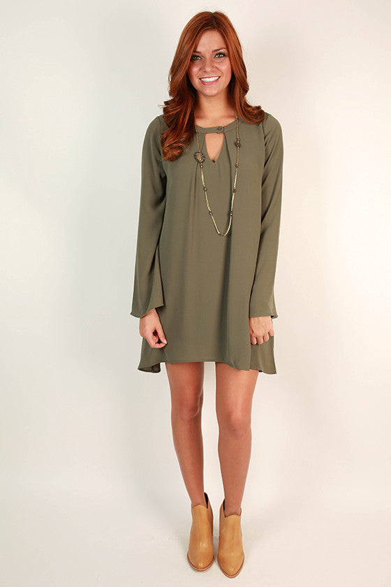Cappuccino Cuddles Shift Dress in Sage