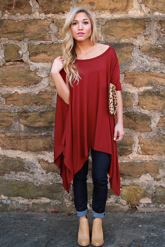 Road Less Traveled Tunic in Crimson
