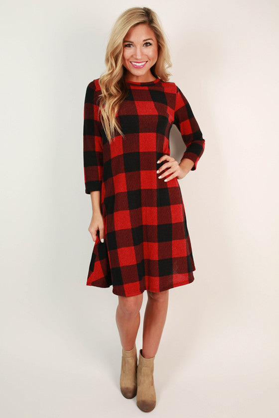 Around The Campfire Plaid Dress