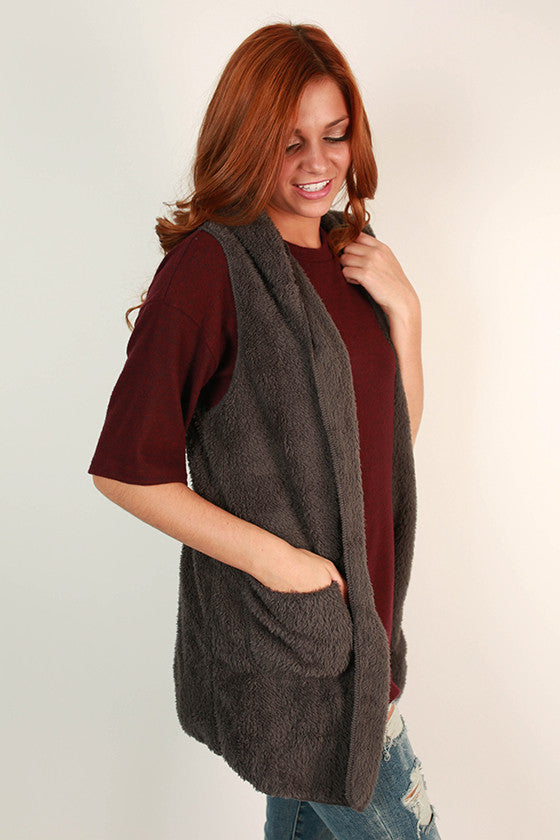 Mocha Latte Ultra Soft Vest in Charcoal