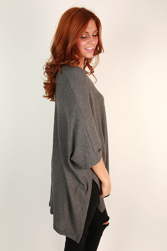 Cozy On Repeat Tunic in Dark Grey