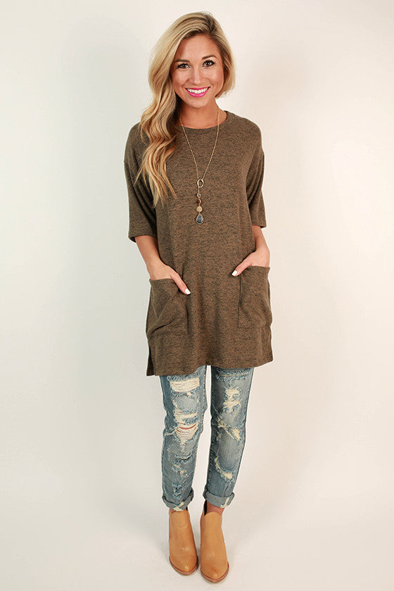 Sugar & Extra Spice Shift Tunic in Dark Mocha
