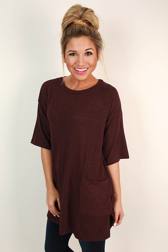Sugar & Extra Spice Shift Tunic in Burgundy
