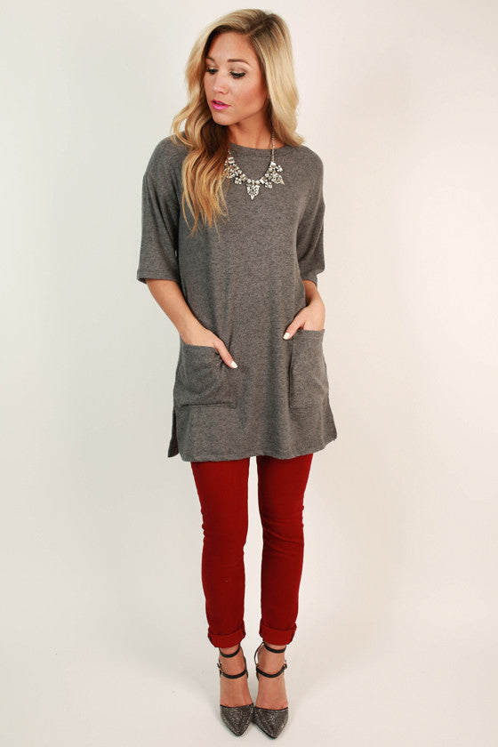 Sugar & Extra Spice Shift Tunic in Dark Grey