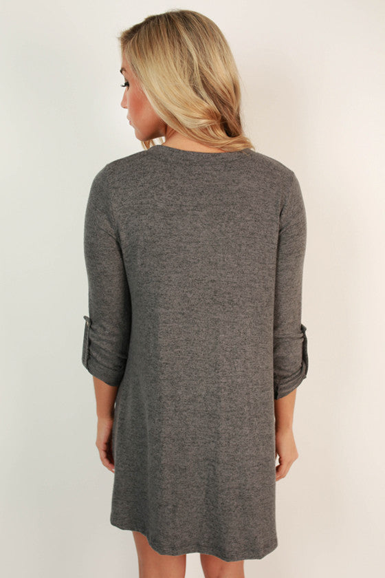 Telluride Getaway Shift Dress in Dark Grey