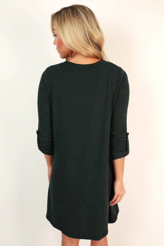 Telluride Getaway Shift Dress in Dark Teal