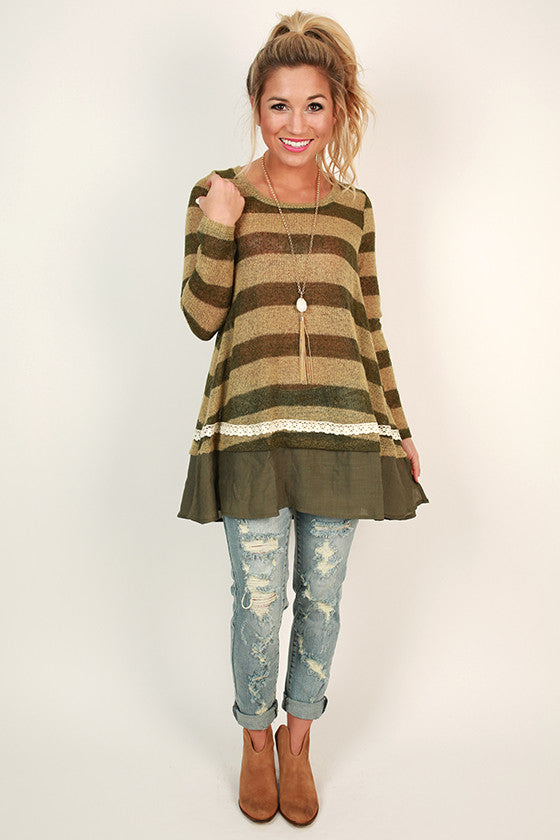 Mimosas & Stripes Tunic Sweater in Army Green