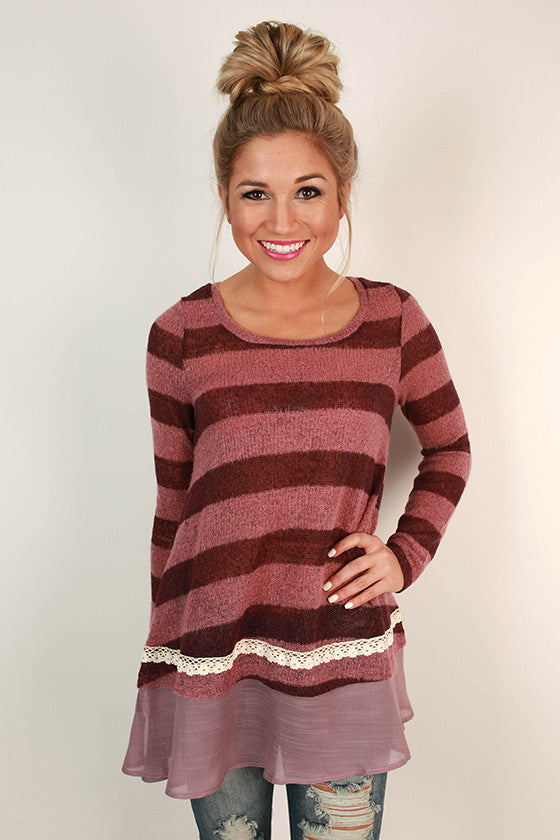 Mimosas & Stripes Tunic Sweater in Royal Plum