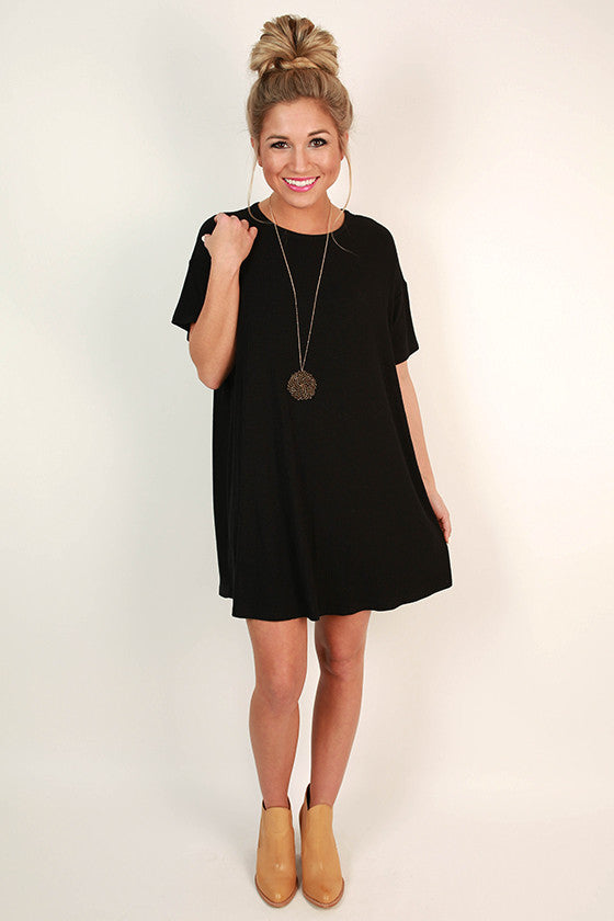 Lazy Sunday T-Shirt Dress in Black
