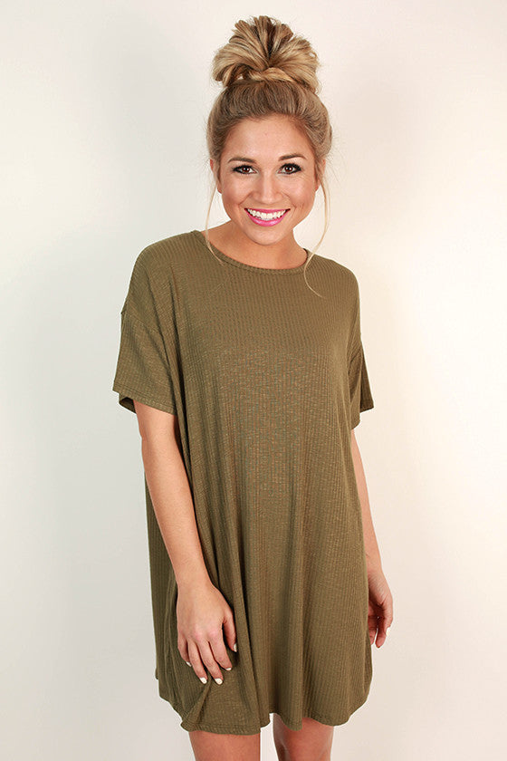 Lazy Sunday T-Shirt Dress in Army Green