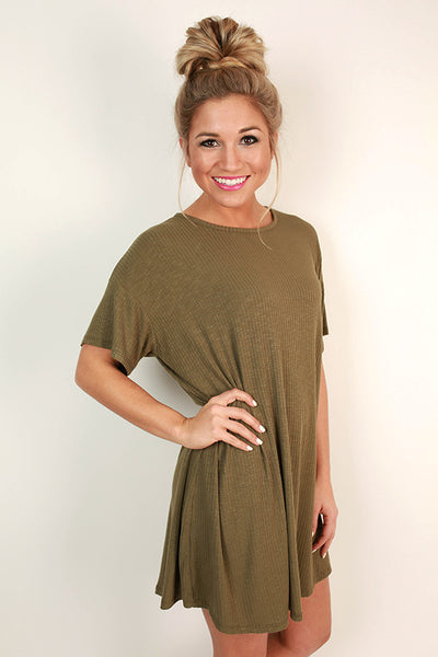 Lazy Sunday T Shirt Dress In Army Green Impressions